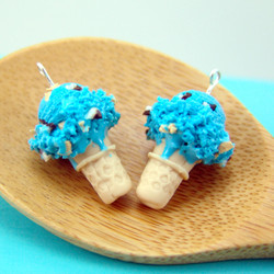 Ice Cream Earrings // Cookie Monster Ice Cream Food Jewelry // MADE TO ORDER // Miniature Food Earrings