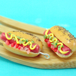 Food Jewelry // Hot Dog Earrings // Miniature Food Earrings // MADE TO ORDER