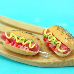 Food Jewelry // Hot Dog Earrings // Miniature Food Earrings // MADE TO ORDER