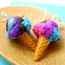 Galaxy Ice Cream Earrings // Food Jewelry // MADE TO ORDER // Miniature Food Earrings // Blue Purple Pink Black
