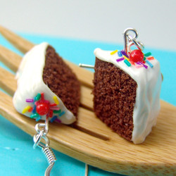 Chocolate Cake Earrings with Rainbow Sprinkles // MADE TO ORDER