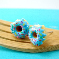 Blueberry Glazed Donut Earrings with Rainbow Sprinkles  // MADE TO ORDER
