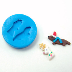 Silicone Mold // Dollhouse Deer and Dachshund Cookies Mold in 1/12 Scale