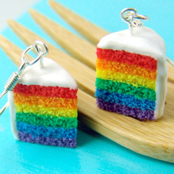 rainbow Earrings // Rainbow Cake Earrings // Food Jewelry Food Earrings // MADE TO ORDER
