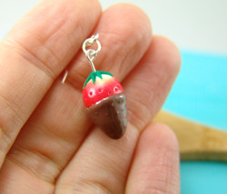 Strawberry Earrings // MADE TO ORDER // Chocolate Covered Strawberry Jewelry