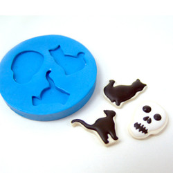 Polymer Clay Mold // Large Cat and Skull Cookies for One-Sixth Scale // Blythe Barbie Cookie Mold