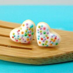 Food Jewelry // Heart Shaped Cookie Earrings in Rainbow Kissed //MADE TO ORDER // Post Earrings