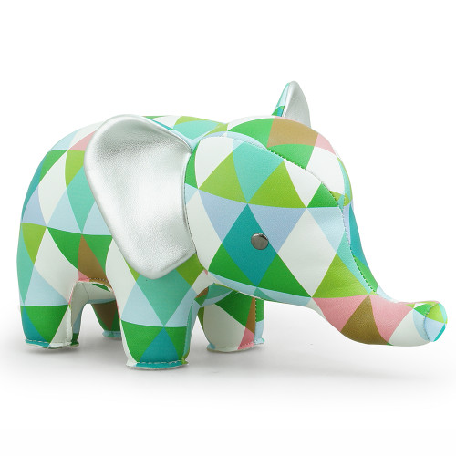 Zuny Kaleidoscope Elephant Diamond Green/Blue/White