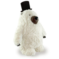 Zuny Classic Charlie Polar Bear with Top Hat - White with Faux Fur