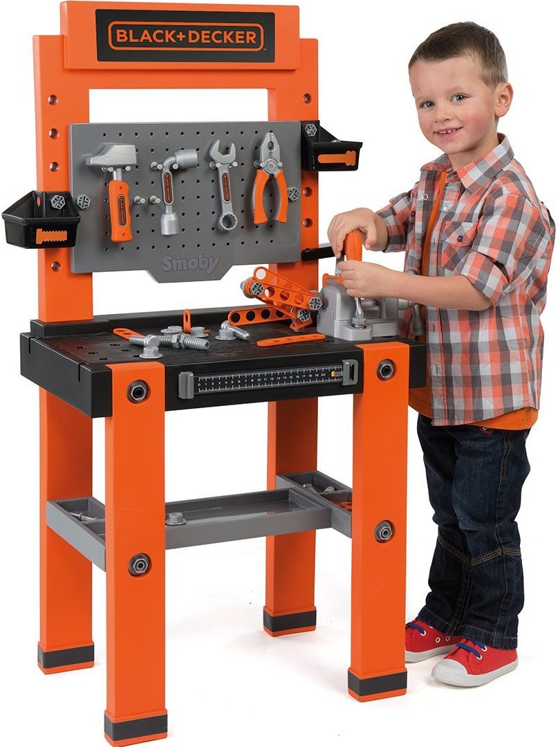 smoby black and decker bricolo one childrens toy workbench play tool set kit ebay. Black Bedroom Furniture Sets. Home Design Ideas