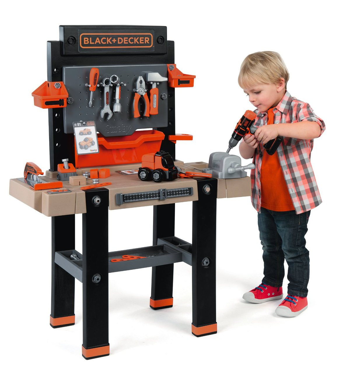 smoby black and decker ultimate bricolo childrens play workbench toy tool set ebay. Black Bedroom Furniture Sets. Home Design Ideas