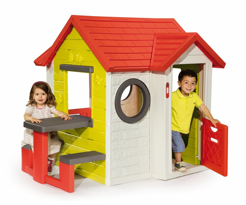 smoby childrens my house with picnic table playhouse kids uk. Black Bedroom Furniture Sets. Home Design Ideas