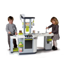 Smoby Cuisine Loft Kitchen grey version in fully open state