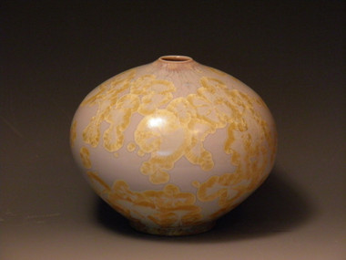 Ovoid Ivory and Gold Vase