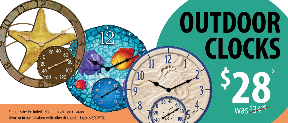 Outdoor Clocks and Thermometers are on sale