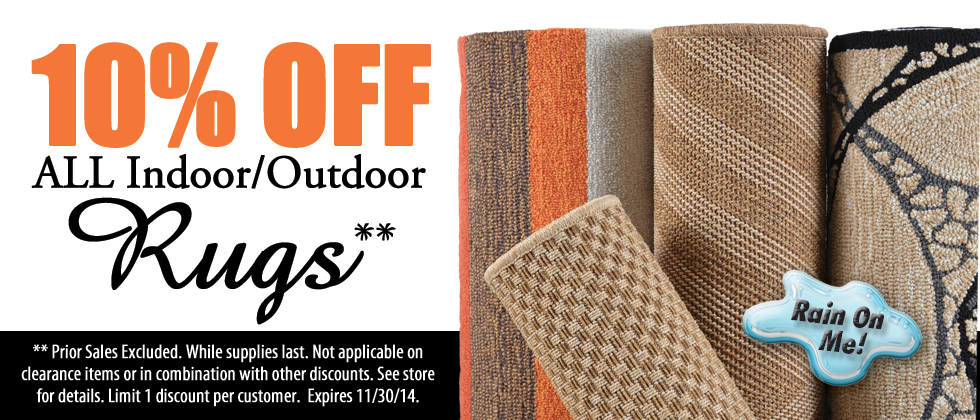 10% Off Indoor and Outdoor Rugs