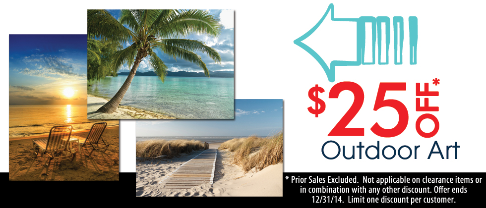 $25 off all Outdoor Wall Art