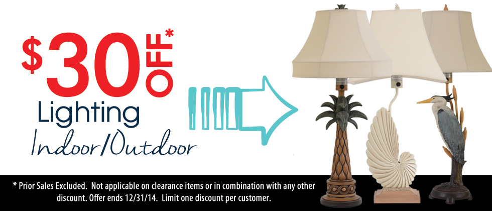 $30 off of all indoor and outdoor lighting