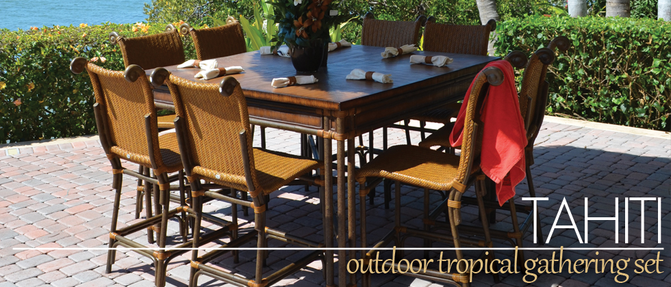 Outdoor Wicker Tahiti Counter Height Dining Set