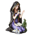 Spellcasting Witch with Dragon Statue