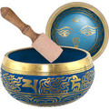 Buddha Brass Singing Bowl - Blue 6.25""