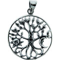 Tree of Life Sun and Moon Sterling Silver Pendant