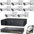 Everything that comes in the IP8332-C Bundle: 8 Vivotek IP8332-Cs, the Vivotek ND8301, and the Planet FGSD-910P