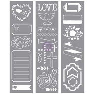 Prima Love, Faith, Scrap Planner Stencils