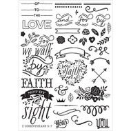 Prima Love, Faith, Scrap Planner Cling Stamps, Elements