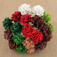 "20 MIXED CHRISTMAS/SEASONAL COLOR TUSCANY ROSES - 30mm (1¼"") (SAA-448)"