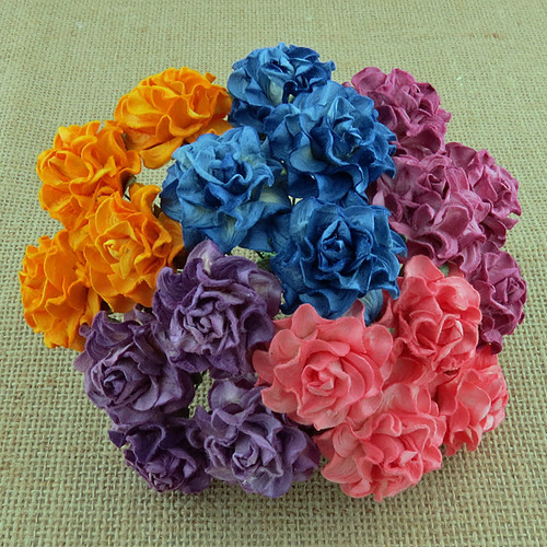 "Wild Orchid Crafts 20 MIXED COLOR TUSCANY ROSES - 30mm (1¼"") (SAA-449)"
