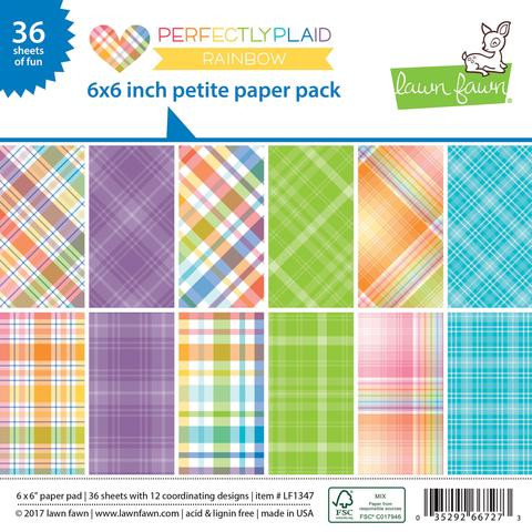 Lawn Fawn - Petite Paper Pack - Rainbow - Perfectly Plaid (LF1347)