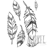 49 and Market - 4 x 6 Clear Stamps - Feathers Stamp Set
