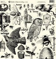 7Gypsies - 12 x 12 Scrapbook Paper - Birds & Bees On Ivory