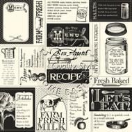 7Gypsies - 12 x 12 Scrapbook Paper - Farmhouse Kitchen Labels On Ivory