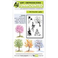 Art Impressions - Watercolor Cling Rubber Stamp - Tree Set