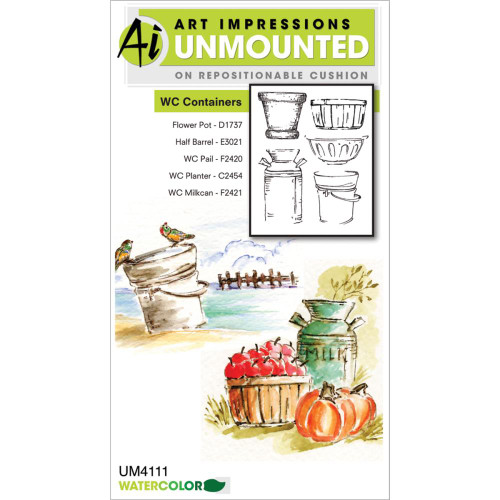 Art Impressions - Watercolor Cling Rubber Stamp - Containers