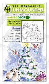 Art Impressions - Watercolor Cling Rubber Stamp - Series 4 Set 2