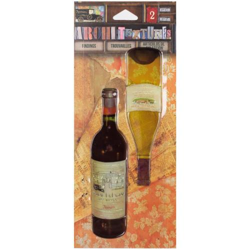 7 Gypsies Architextures Findings Adhesive Embellishments - Wine Bottles