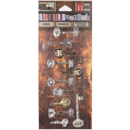 7 Gypsies Architextures Findings Adhesive Embellishments - Vintage Keys