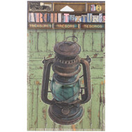 "7 Gypsies Architextures Treasures Adhesive Embellishments - Old Metal Lantern 4"", Black"