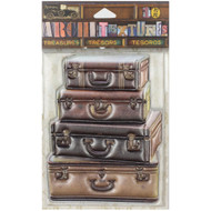 7 Gypsies Architextures Treasures Adhesive Embellishments - 4 Stacked Leather Suitcases 4""