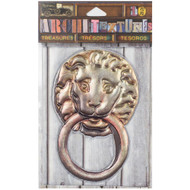 7 Gypsies Architextures Treasures Adhesive Embellishments - Lion Door Knocker 4""