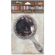 7 Gypsies Architextures Treasures Adhesive Embellishments - Tarnished Silver Handle Mirror 4.75""