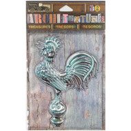 7 Gypsies Architextures Treasures Adhesive Embellishments - Weathered Patina Metal Rooster 4""