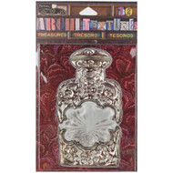 7 Gypsies Architextures Treasures Adhesive Embellishments - Silver & Glass Bottle 4""