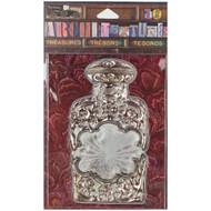 "7 Gypsies Architextures Treasures Adhesive Embellishments - Silver & Glass Bottle 4"""