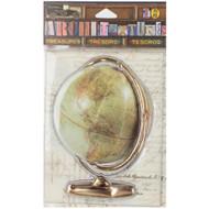 "7 Gypsies Architextures Treasures Adhesive Embellishments - Vintage World Globe 4"""