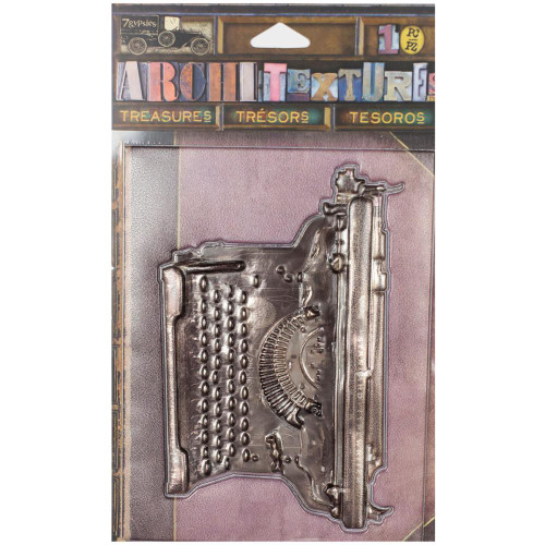 7 Gypsies Architextures Treasures Adhesive Embellishments - Vintage Standard Typewriter