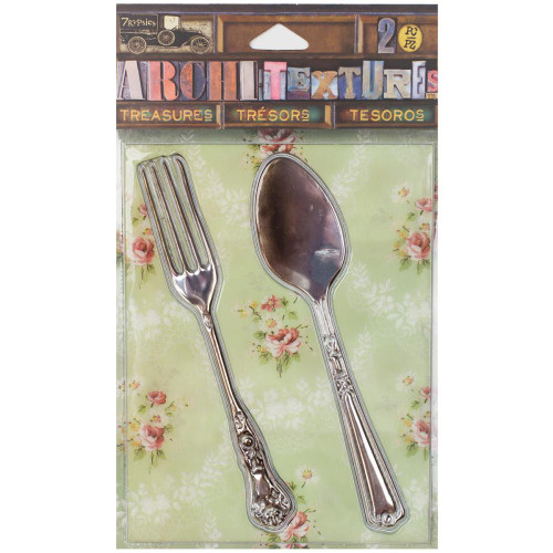 7 Gypsies Architextures Treasures Adhesive Embellishments - Tarnished Silver Fork & Spoon 4""